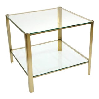 Mid Century Square Bronze and Glass Side Table by Jacques Quinet for Malabert For Sale