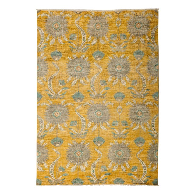 "Eclectic, Hand Knotted Yellow Abstract Wool Area Rug - 6' 2"" X 8' 10"" For Sale"