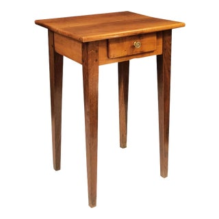 French Side or End Table of Cherry and Oak with Drawer For Sale