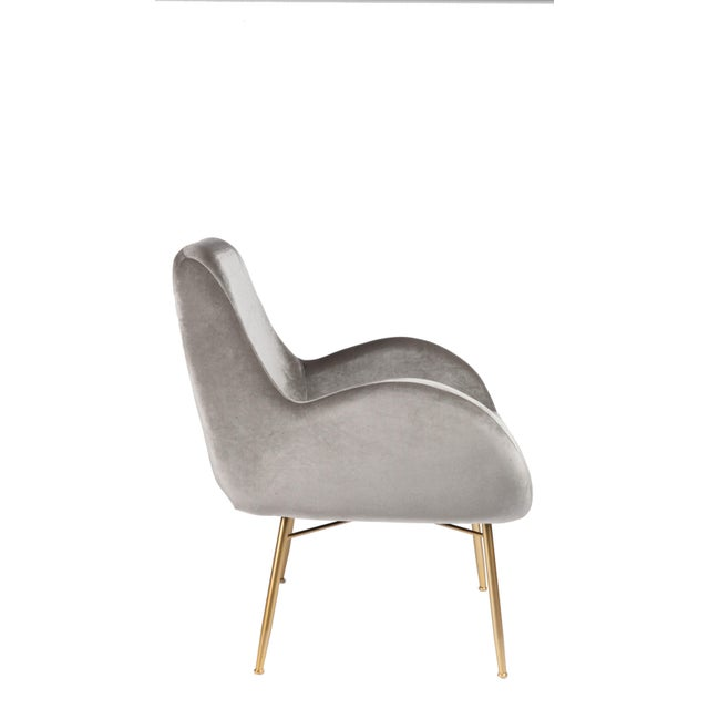 2010s New Modern Gray Velvet Armchair With Gold Legs and Pillows - a Pair For Sale - Image 5 of 11