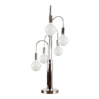 Mid-Century Lightolier Chrome Cascading Waterfall Table Lamp