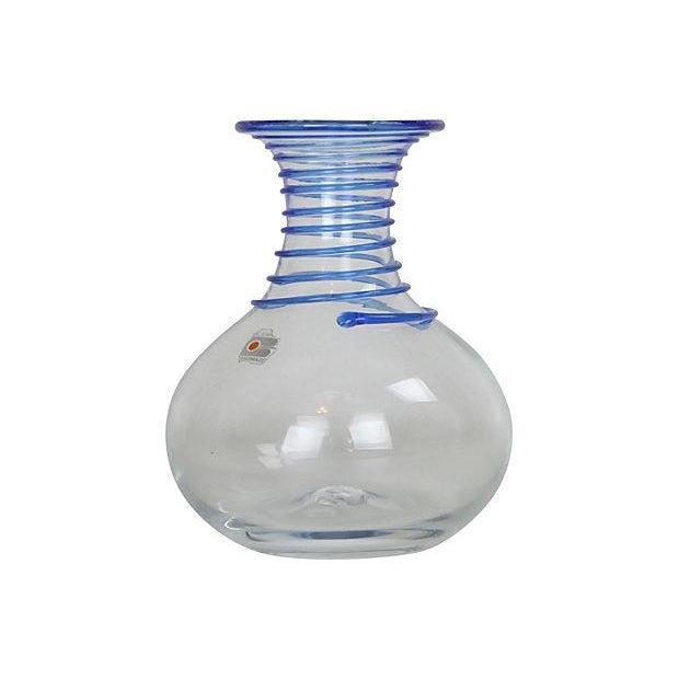Blenko Swirl Cobalt Clear Vase Chairish