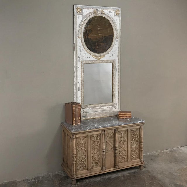 19th Century Stripped Renaissance Revival Low Buffet with Marble Top appears at first glance to be a trunk, but the two...