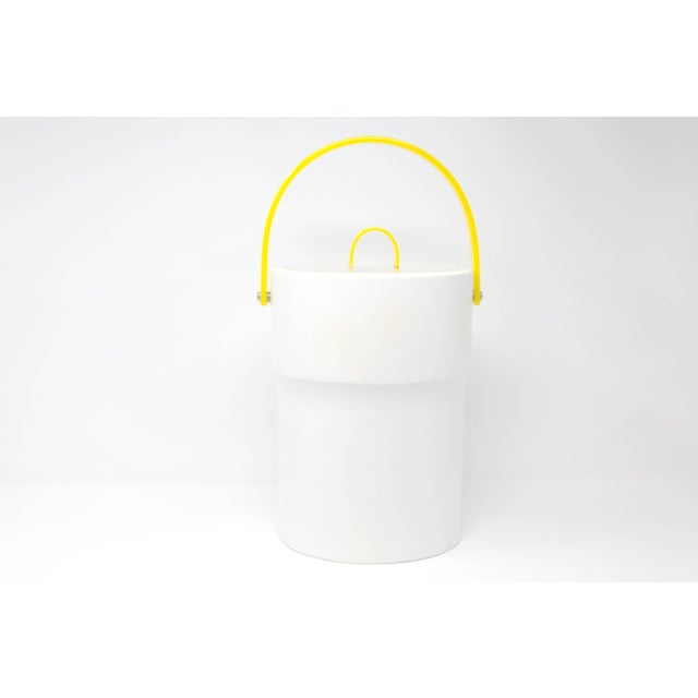 "A vintage Morgan ""Bucket Brigade"" insulated ice bucket, with a lucite lid and bright yellow accents. Excellent condition...."