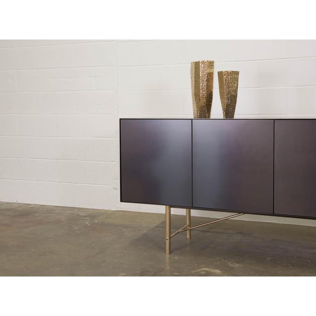 Contemporary Connect Credenza Sideboard Customizable in Steel and Polished Bronze For Sale - Image 3 of 8