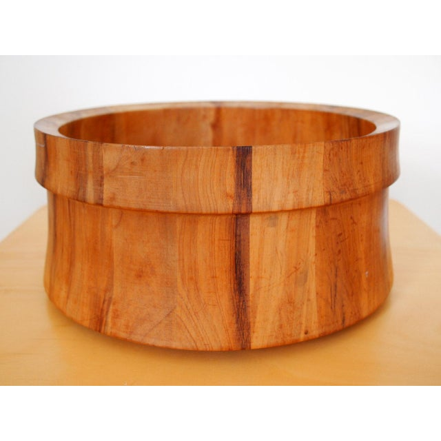 Mid-Century Modern Vintage Nissen Solid Staved Teak Salad Bowl For Sale - Image 3 of 6