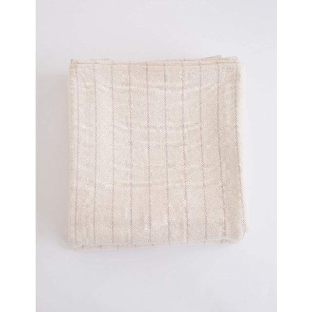 Pinstripe Blanket in Blush, King For Sale - Image 11 of 11