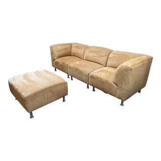Design With Reach Custom Microfiber Four Piece Modular Sectional For Sale