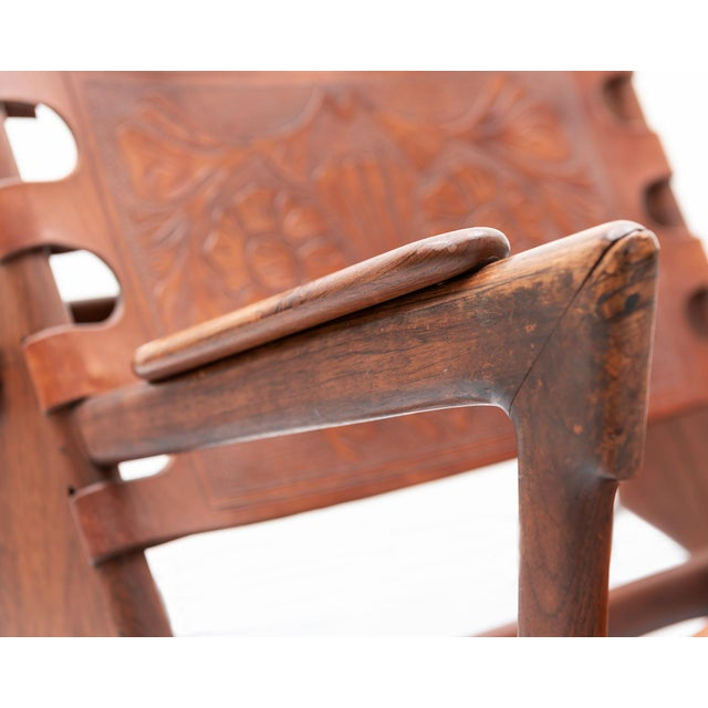 Mid-Century Modern Rosewood and Leather Rocker by Angel Pazmino, Ecuador, 1960s For Sale - Image 3 of 9