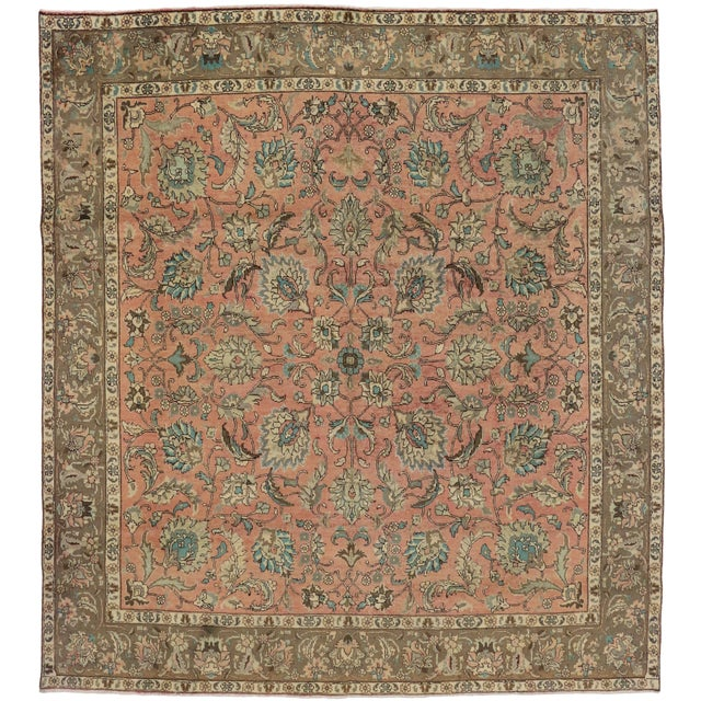 Vintage Persian Traditional Style Tabriz Rug - 10' x 11' - Image 1 of 6