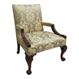 Hickory Chair Co. Chippendale Ball Claw Arm Lounge Chair For Sale
