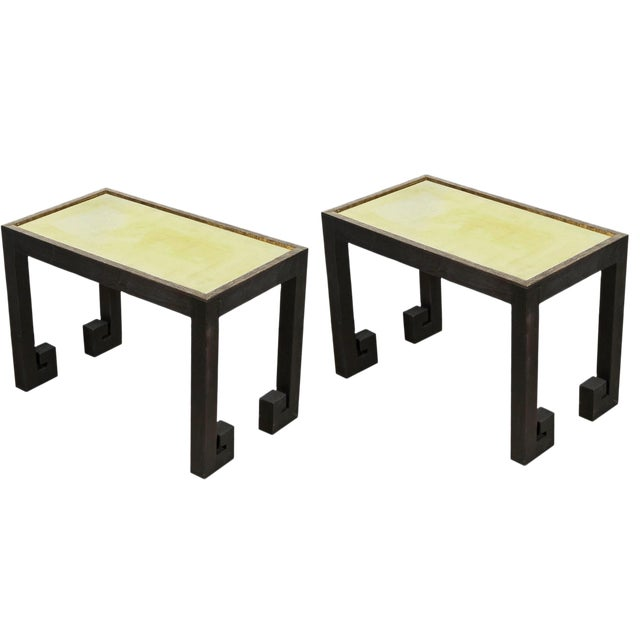Distressed Greek Key Tables With Brass Metal Inset - Pair For Sale - Image 9 of 9