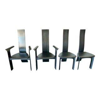 1970s Bob & Dries Van Den Berghe Ebonized 'Iris' High Back Dining Chairs - Set of 6 For Sale