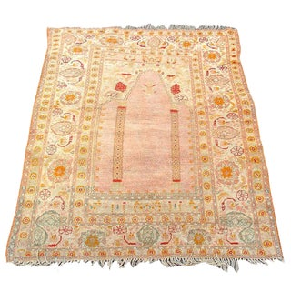 Elegant and Soft Oushak Prayer Scatter Rug For Sale