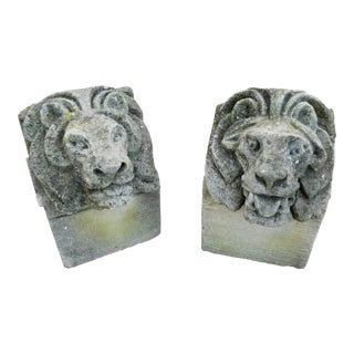 Pair of Antique Carved Granite Lion Heads For Sale