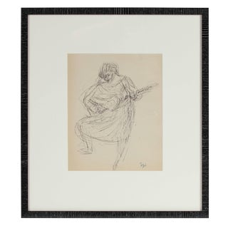 Jennings Tofel Expressionist Woman Playing Guitar, Framed Ink Sketch, Early to Mid 20th Century For Sale