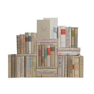 Midcentury Beach Book Wall : Set of Fifty Decorative Books in Neutral Shades