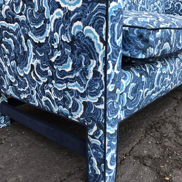 Cotton 1950s Retro Modern Loveseat Covered in Kendall Wilkinson Fabric For Sale - Image 7 of 9