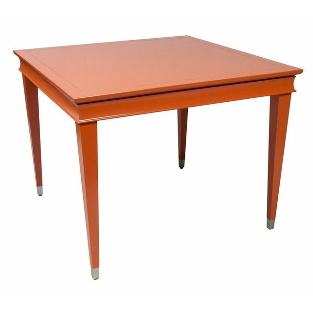 Orange Laquered Game Table For Sale