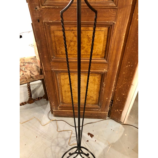 1940s French 1920's Wrought Iron Floor Lamp For Sale - Image 5 of 8