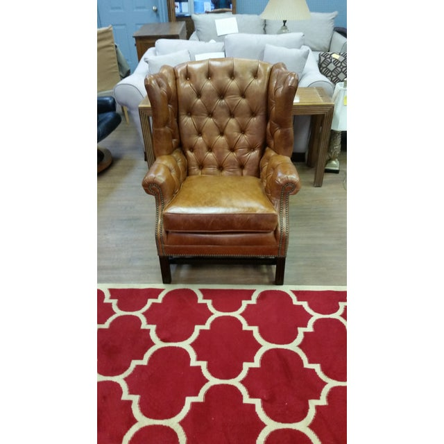 Refurbished Genuine Leather Wing Chair - Image 7 of 7