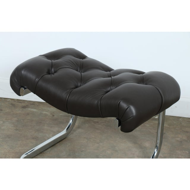 Italian Leather Chair and Ottoman For Sale - Image 10 of 11