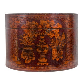 Qing Dynasty Red Lacquered Hat Box For Sale