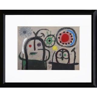 """""""Cartones 19: Femmes en Prière Devant Le Soleil"""" Framed Lithograph by Joan Miro For Sale"""
