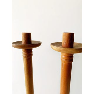 1940s Antique Vintage Arts & Crafts Turned Oak Candlesticks - a Pair Preview
