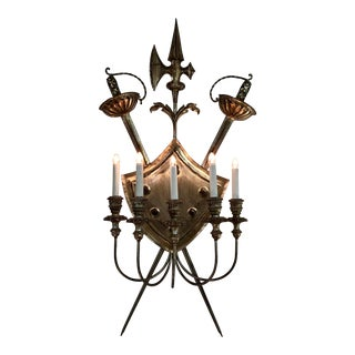 Italian Silver Gilt Shield Sconce For Sale