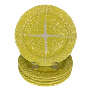 Vintage Secla Yellow Cabbage Plates - Set of 5 For Sale