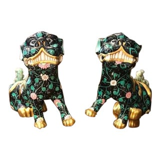 Herend Black Dynasty Foo Dog Figurines - a Pair For Sale