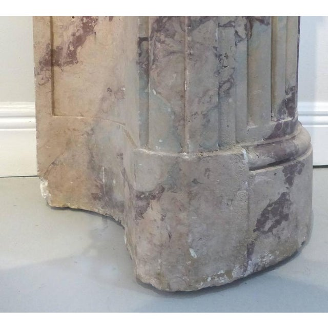 Tan Turn of the Century Italian Terracotta Faux-Marble Fireplace For Sale - Image 8 of 11