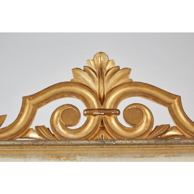Gold 18th Century Italian Baroque Mirror with Faux Marble Base For Sale - Image 8 of 9