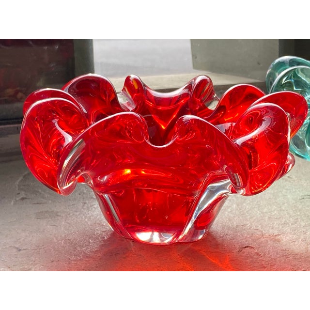 """Spice up any room with this red Murano Dish. Mid Century 6.5"""" Diameter x 3.5"""" High"""