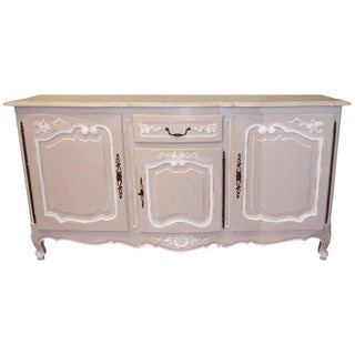 "Louis XV Style Painted Grey & White Sideboard Over Solid Oak, Width 81"". For Sale"