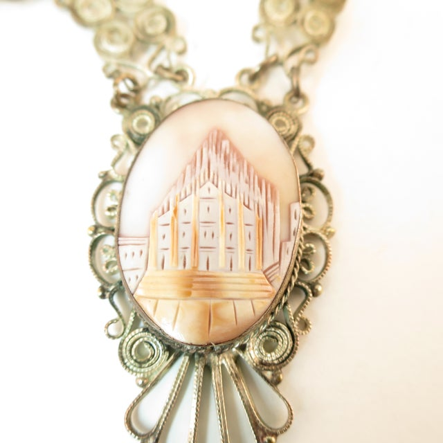 1950s Victorian-Style Landscape Shell Cameo Filigree Necklace Italy 1950s For Sale - Image 5 of 12