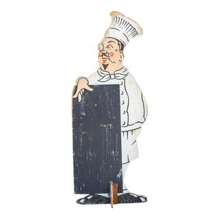 Vintage Double-Sided Wood Chef Sign For Sale