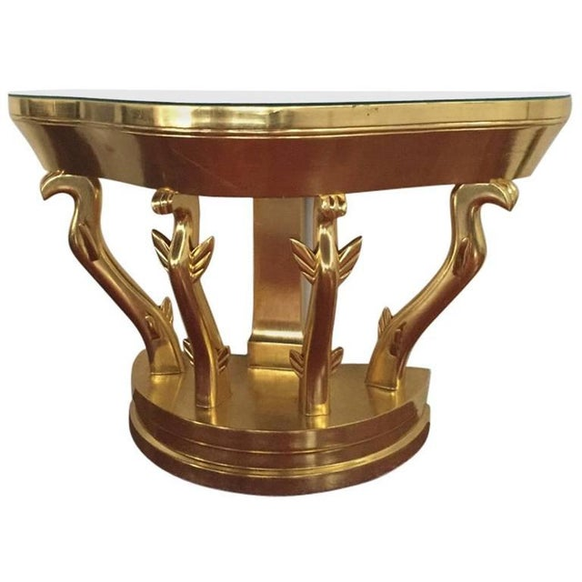 Mid-Century Gold Console Table with Glass Top - Image 5 of 5