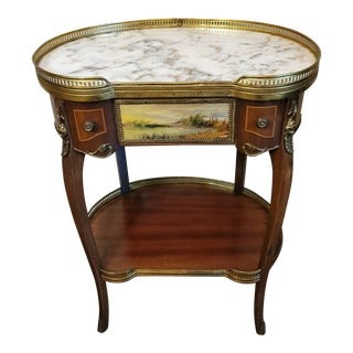 1930s French Louis XV Mahogany Inlaid Gilt-Bronze Mounted Side Table For Sale