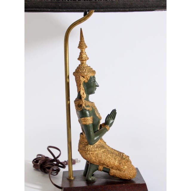 Bronze Statue of a Thai Teppanom Kneeling Angel Buddha Table Lamp For Sale In Los Angeles - Image 6 of 12