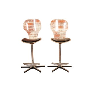 Mid-Century Lucite & Leather Bar Stools -- A Pair
