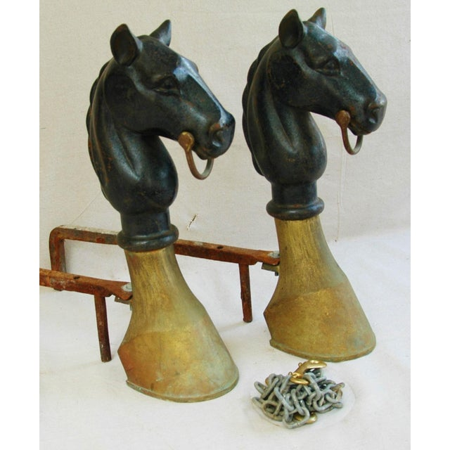 Early Iron & Brass Equestrian Horse Andirons - Pair - Image 6 of 11