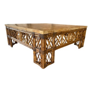 Chinese Chippendale Fretwork Rattan Coffee Table For Sale