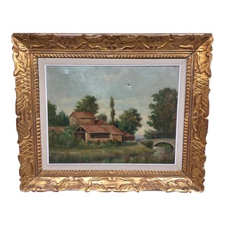 French Farm Oil Painting For Sale