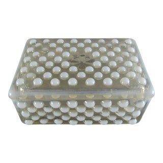 1940s Opalescent Hobnail Glass Box For Sale