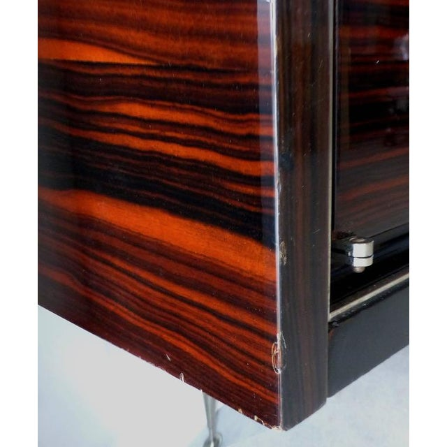 Silver 1930s French Art Deco Macassar and Ebony Credenza with Bar Compartment For Sale - Image 8 of 11