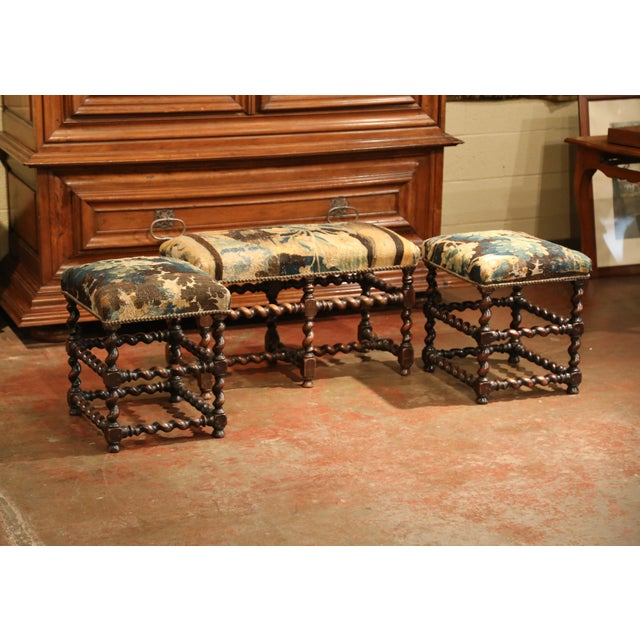 19th Century French Carved Walnut Stools and Bench With Aubusson Tapestry - Set of 3 For Sale In Dallas - Image 6 of 9