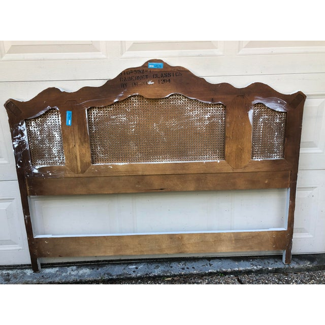 French Provincial Drexel Heritage Cabernet Classics Full/Queen Painted Caned Headboard For Sale - Image 3 of 13