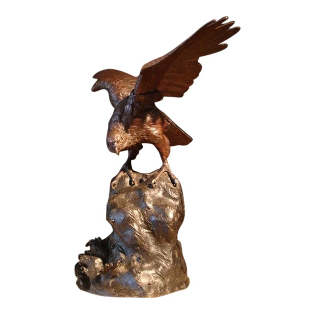 A Japanese Bronze Sculpture of an Osprey For Sale